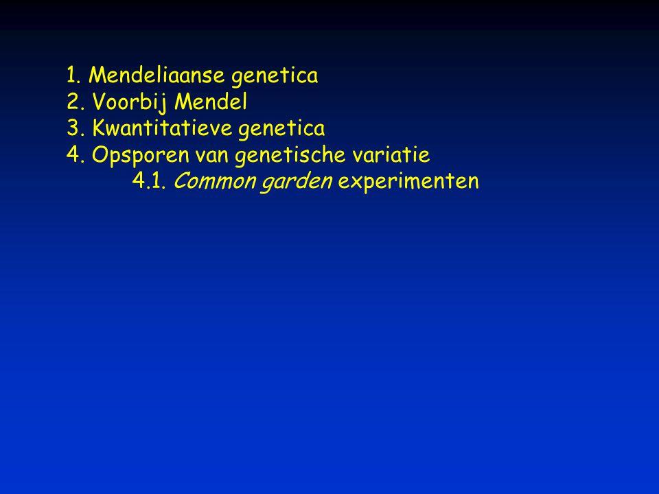 1. Mendeliaanse genetica 2. Voorbij Mendel 3. Kwantitatieve genetica 4. Opsporen van genetische variatie 4.1. Common garden experimenten