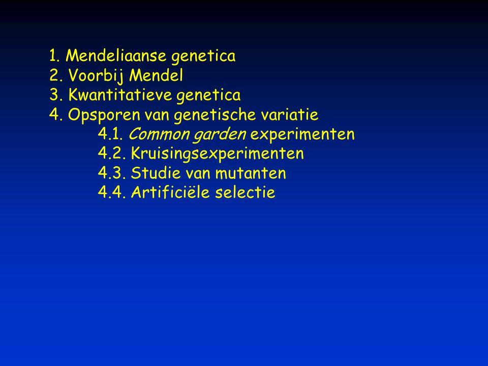 1. Mendeliaanse genetica 2. Voorbij Mendel 3. Kwantitatieve genetica 4. Opsporen van genetische variatie 4.1. Common garden experimenten 4.2. Kruising