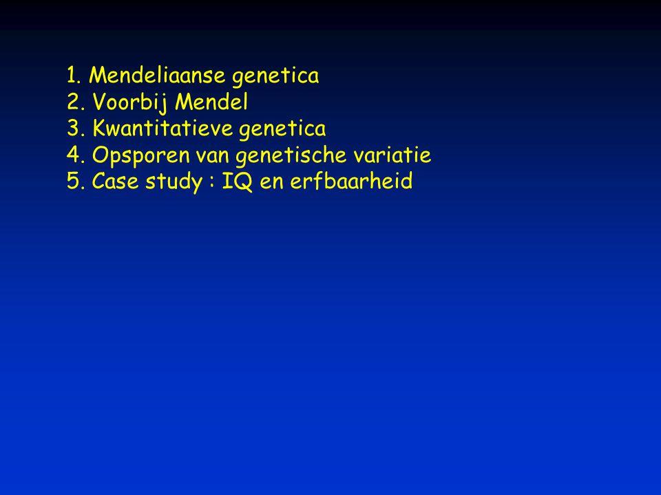 1. Mendeliaanse genetica 2. Voorbij Mendel 3. Kwantitatieve genetica 4. Opsporen van genetische variatie 5. Case study : IQ en erfbaarheid