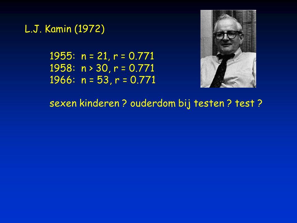 L.J. Kamin (1972) 1955: n = 21, r = 0.771 1958: n > 30, r = 0.771 1966: n = 53, r = 0.771 sexen kinderen ? ouderdom bij testen ? test ?