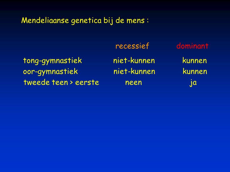 tong-gymnastiekniet-kunnenkunnen recessiefdominant oor-gymnastiek niet-kunnenkunnen tweede teen > eerste neen ja Mendeliaanse genetica bij de mens :