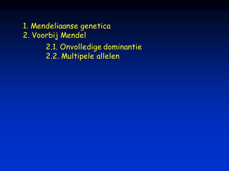 1. Mendeliaanse genetica 2. Voorbij Mendel 2.1. Onvolledige dominantie 2.2. Multipele allelen