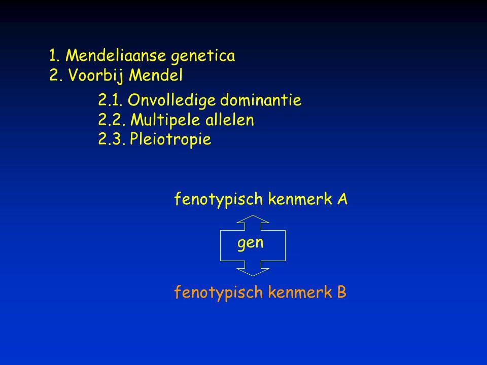 1. Mendeliaanse genetica 2. Voorbij Mendel 2.1. Onvolledige dominantie 2.2. Multipele allelen 2.3. Pleiotropie gen fenotypisch kenmerk A fenotypisch k