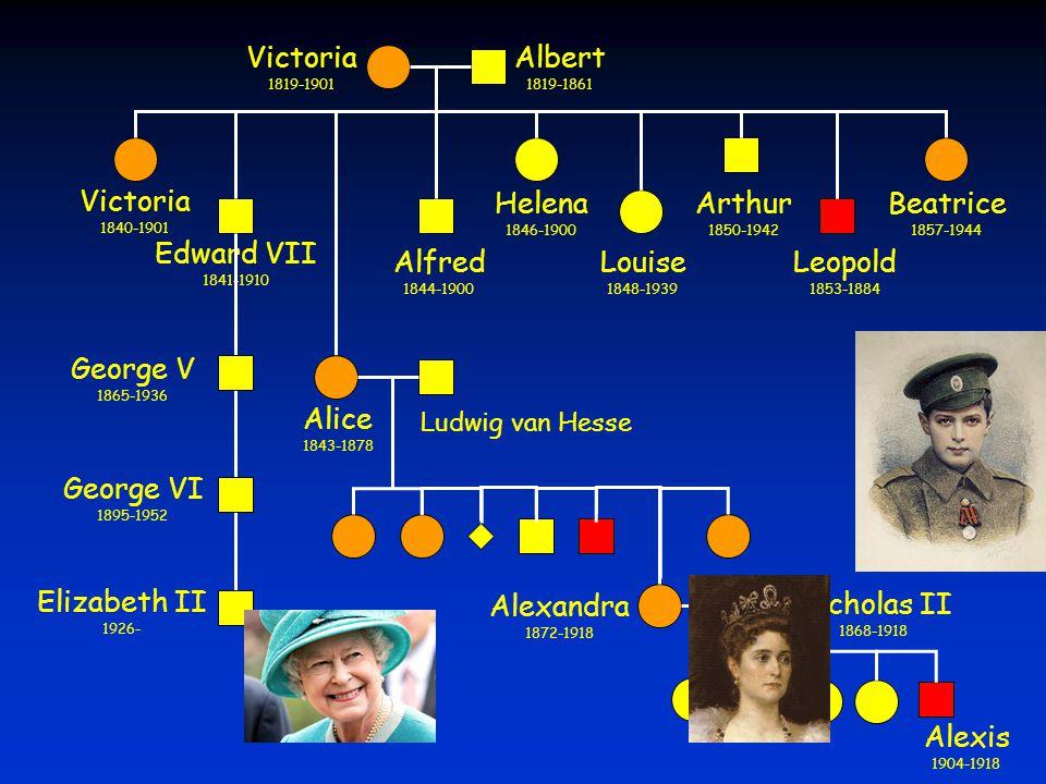 Victoria 1819-1901 Albert 1819-1861 Elizabeth II 1926- Victoria 1840-1901 Edward VII 1841-1910 Alice 1843-1878 Alfred 1844-1900 Helena 1846-1900 Louis