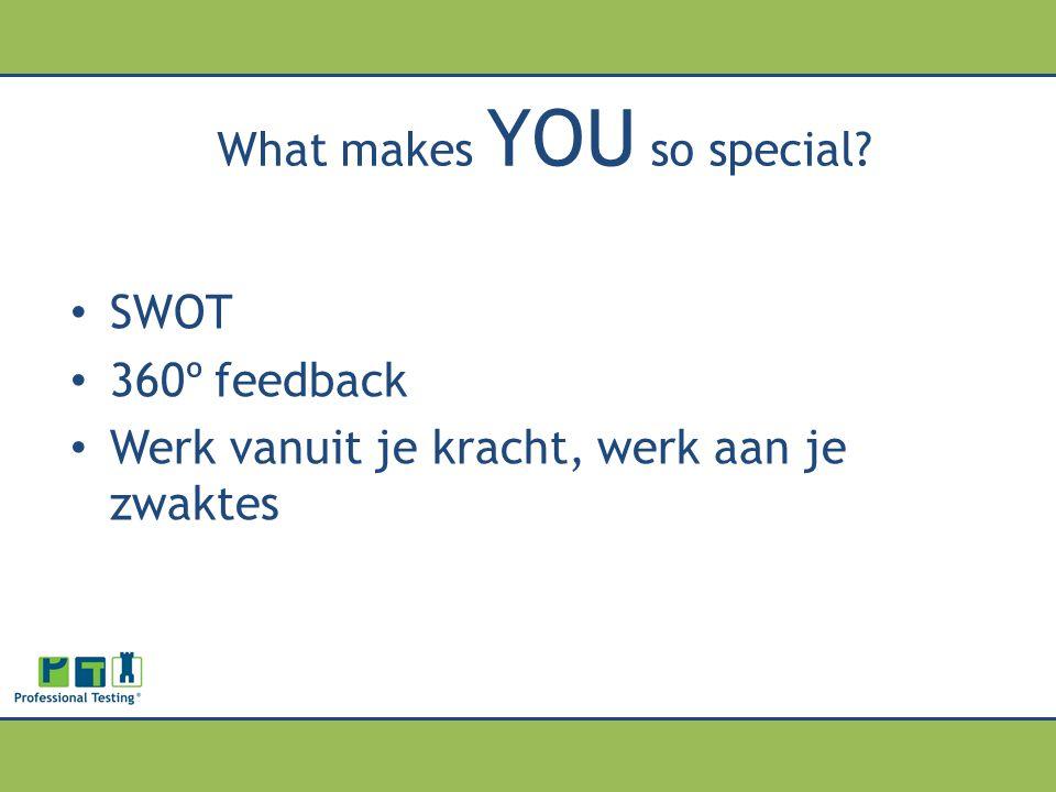 What makes YOU so special? SWOT 360º feedback Werk vanuit je kracht, werk aan je zwaktes