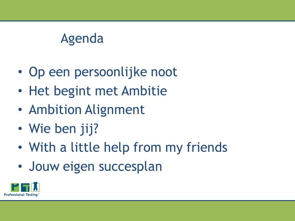 Agenda Op een persoonlijke noot Het begint met Ambitie Ambition Alignment Wie ben jij? With a little help from my friends Jouw eigen succesplan