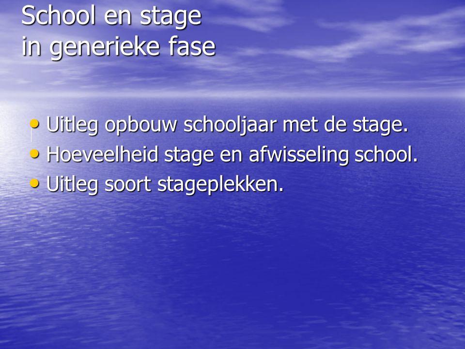School en stage in generieke fase Uitleg opbouw schooljaar met de stage. Uitleg opbouw schooljaar met de stage. Hoeveelheid stage en afwisseling schoo