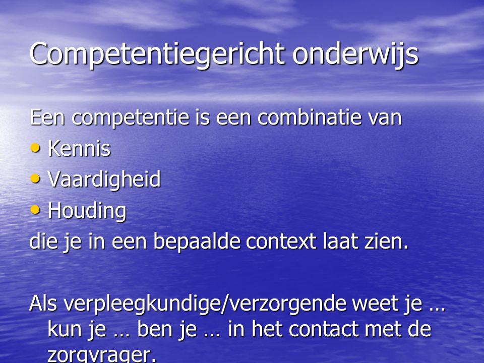 Competentiegericht onderwijs Een competentie is een combinatie van Kennis Kennis Vaardigheid Vaardigheid Houding Houding die je in een bepaalde contex