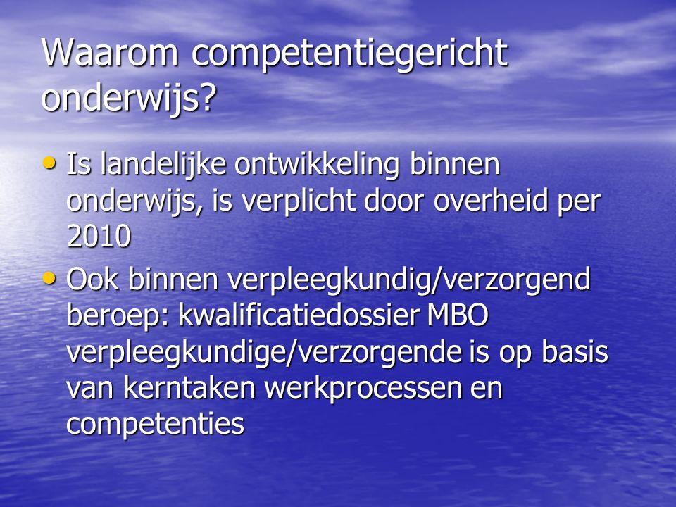 Waarom competentiegericht onderwijs? Is landelijke ontwikkeling binnen onderwijs, is verplicht door overheid per 2010 Is landelijke ontwikkeling binne