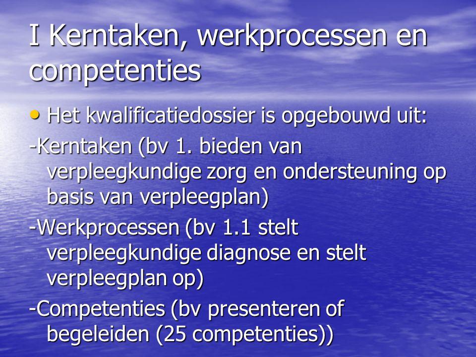 I Kerntaken, werkprocessen en competenties Het kwalificatiedossier is opgebouwd uit: Het kwalificatiedossier is opgebouwd uit: -Kerntaken (bv 1. biede