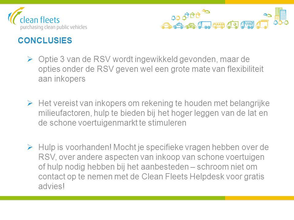 CONCLUSIES  Optie 3 van de RSV wordt ingewikkeld gevonden, maar de opties onder de RSV geven wel een grote mate van flexibiliteit aan inkopers  Het vereist van inkopers om rekening te houden met belangrijke milieufactoren, hulp te bieden bij het hoger leggen van de lat en de schone voertuigenmarkt te stimuleren  Hulp is voorhanden.