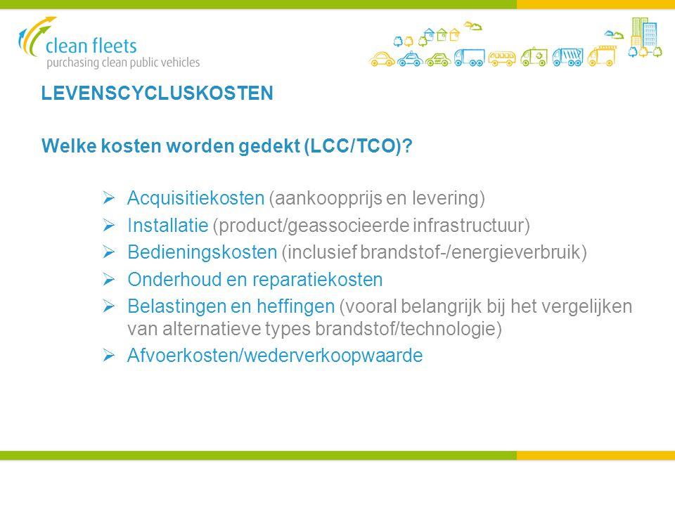 LEVENSCYCLUSKOSTEN Welke kosten worden gedekt (LCC/TCO).