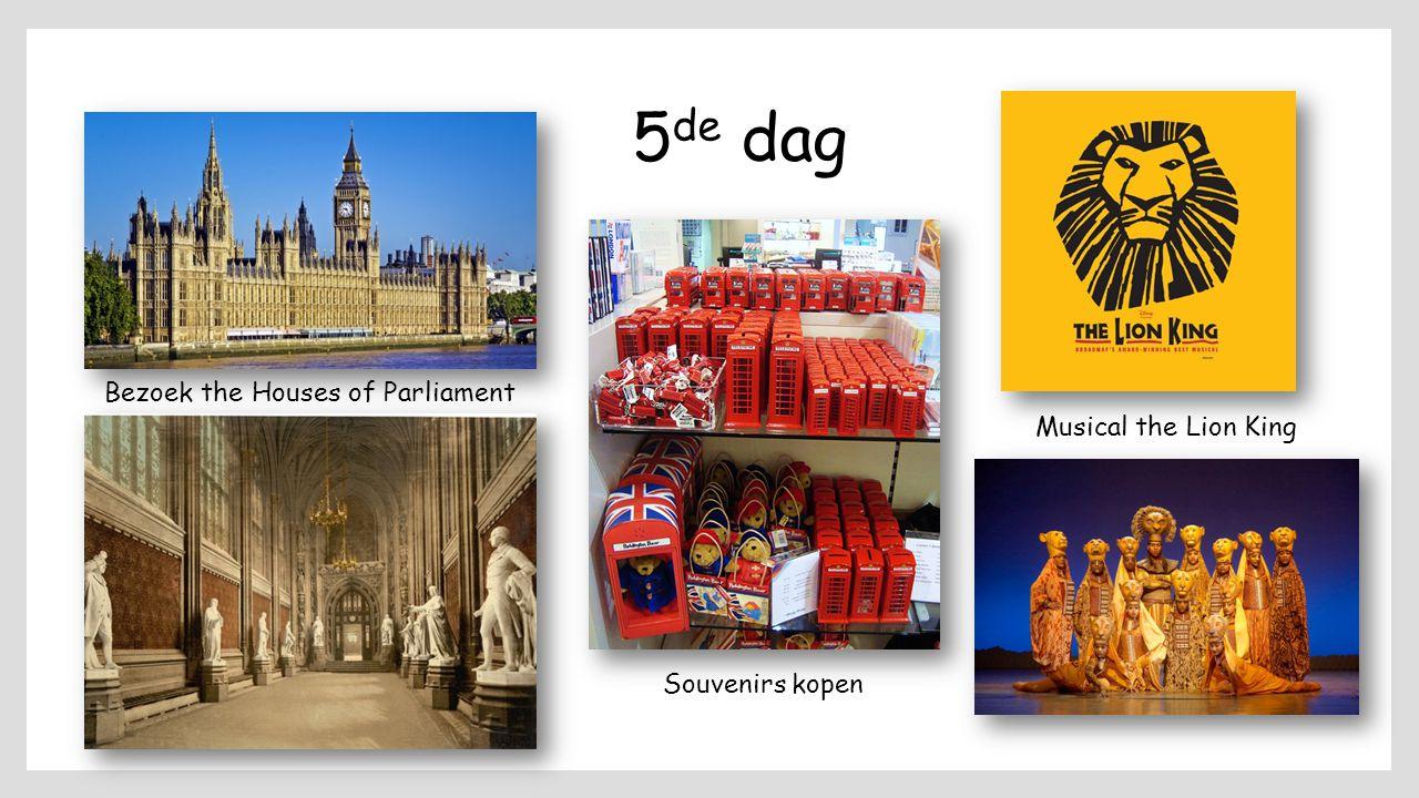 5 de dag Bezoek the Houses of Parliament Souvenirs kopen Musical the Lion King