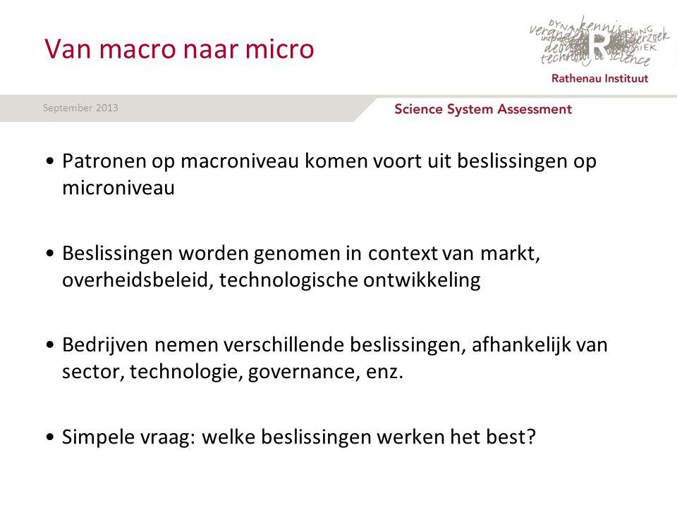 September 2013 Van macro naar micro Patronen op macroniveau komen voort uit beslissingen op microniveau Beslissingen worden genomen in context van markt, overheidsbeleid, technologische ontwikkeling Bedrijven nemen verschillende beslissingen, afhankelijk van sector, technologie, governance, enz.