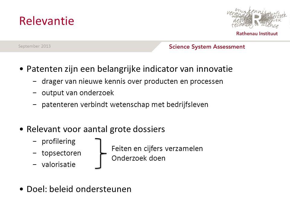 Relevantie Patenten zijn een belangrijke indicator van innovatie −drager van nieuwe kennis over producten en processen −output van onderzoek −patenter