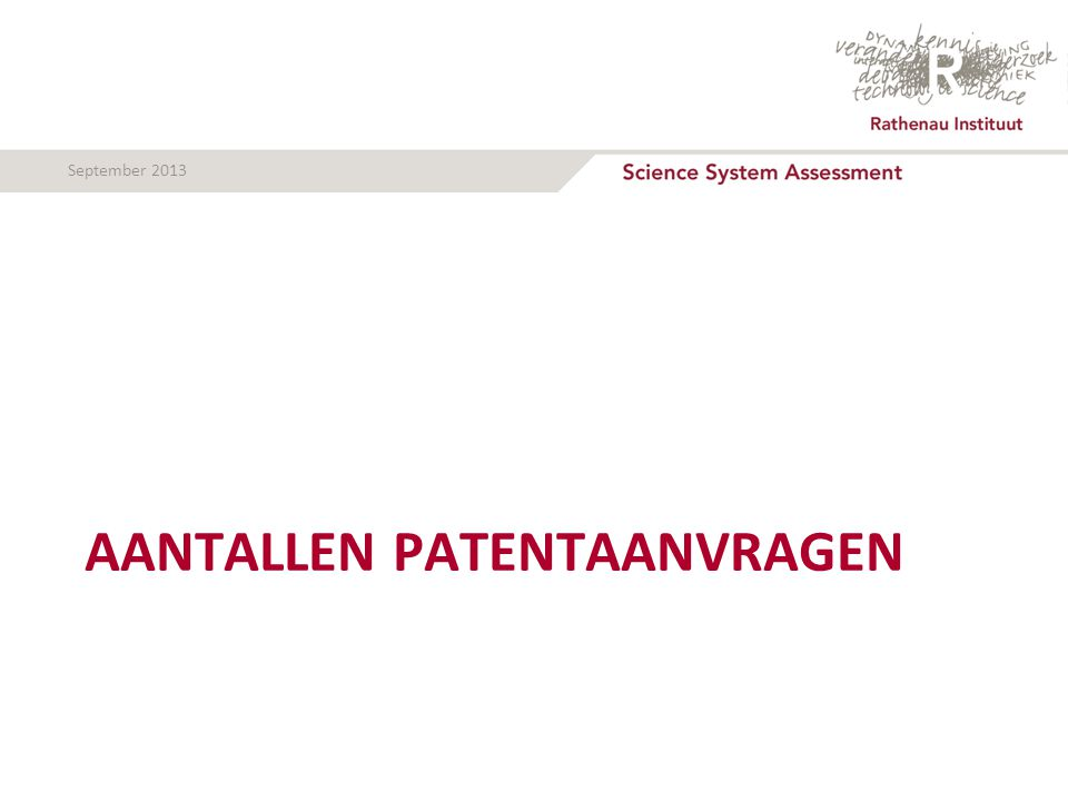 September 2013 AANTALLEN PATENTAANVRAGEN