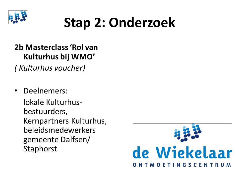Stap 2: Onderzoek 2b Masterclass 'Rol van Kulturhus bij WMO' ( Kulturhus voucher) Deelnemers: lokale Kulturhus- bestuurders, Kernpartners Kulturhus, beleidsmedewerkers gemeente Dalfsen/ Staphorst