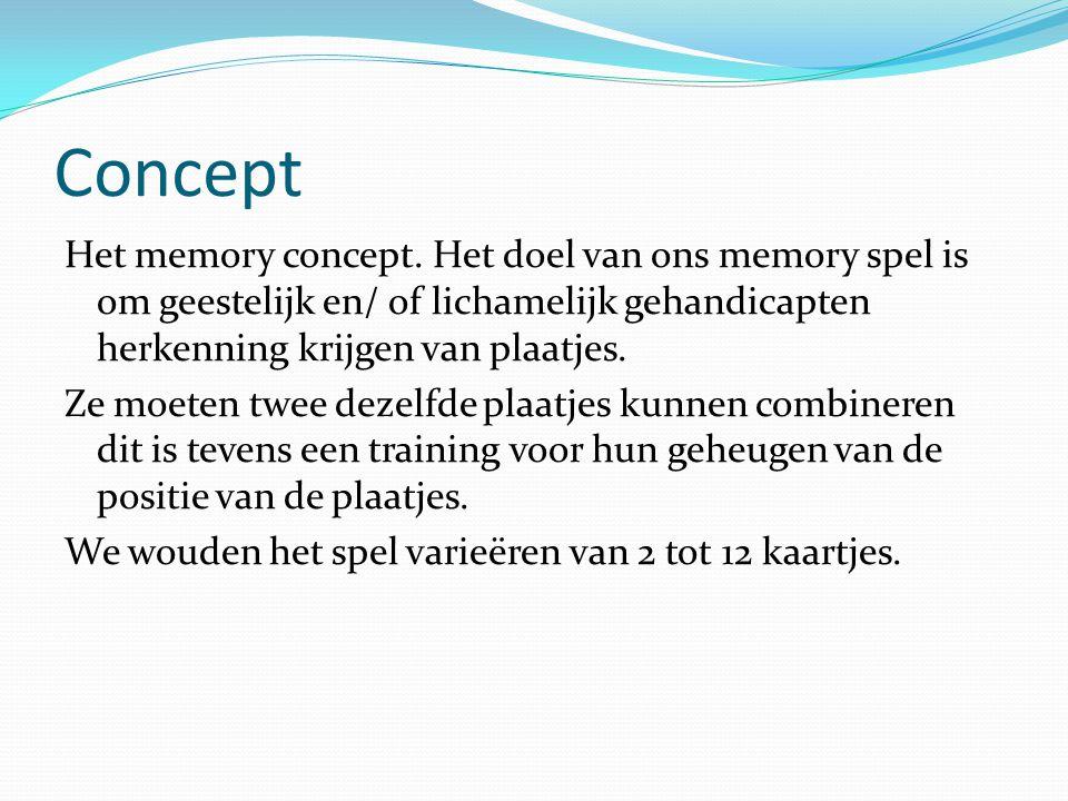 Concept Het memory concept. Het doel van ons memory spel is om geestelijk en/ of lichamelijk gehandicapten herkenning krijgen van plaatjes. Ze moeten