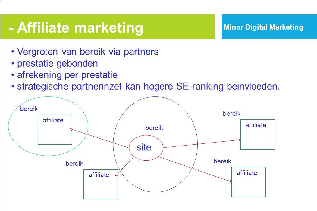 - Affiliate marketing Vergroten van bereik via partners prestatie gebonden afrekening per prestatie strategische partnerinzet kan hogere SE-ranking beinvloeden.