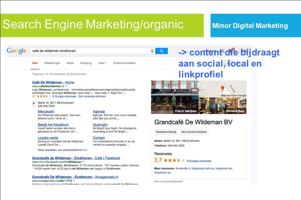 Search Engine Marketing/organic Minor Digital Marketing -> content die bijdraagt aan social, local en linkprofiel
