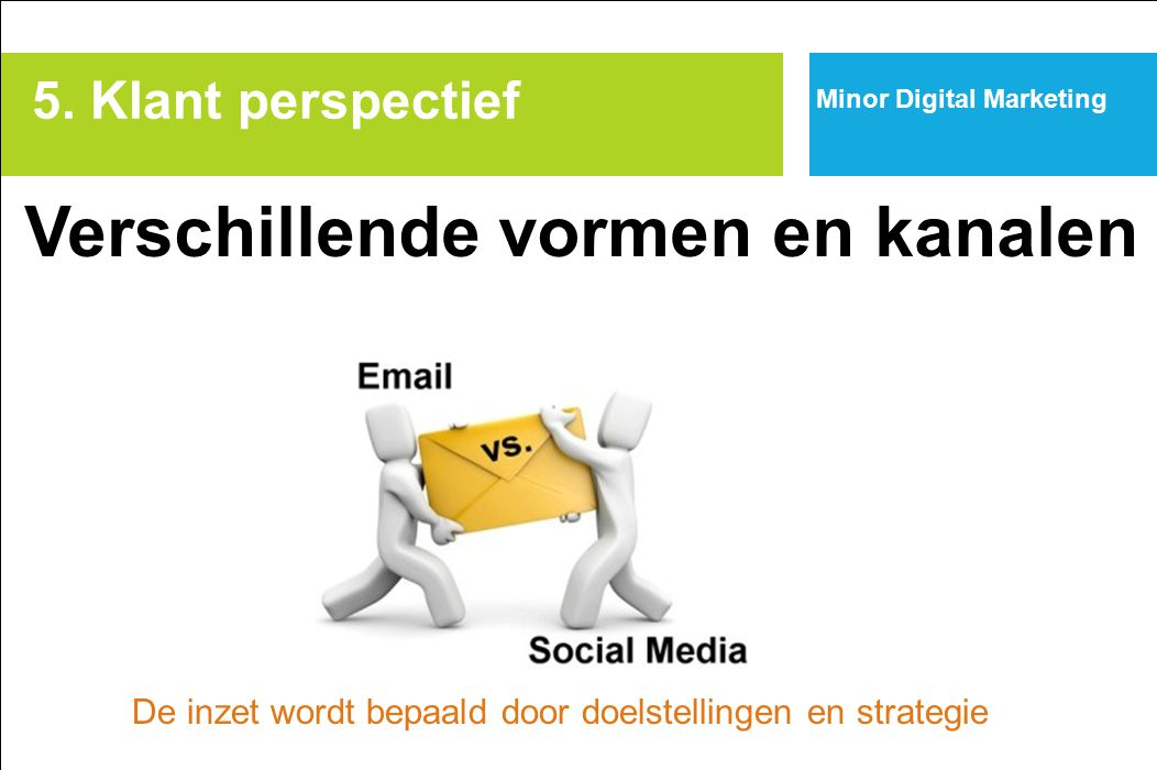 Minor Digital Marketing Marketingtechnieken (tools) om contact te leggen en relatie op te bouwen (CRM) web/gamevertising e-mailmarketing affiliate marketing social media marketing viral marketing profilemarketing/behavioural targeting co-creation 5.
