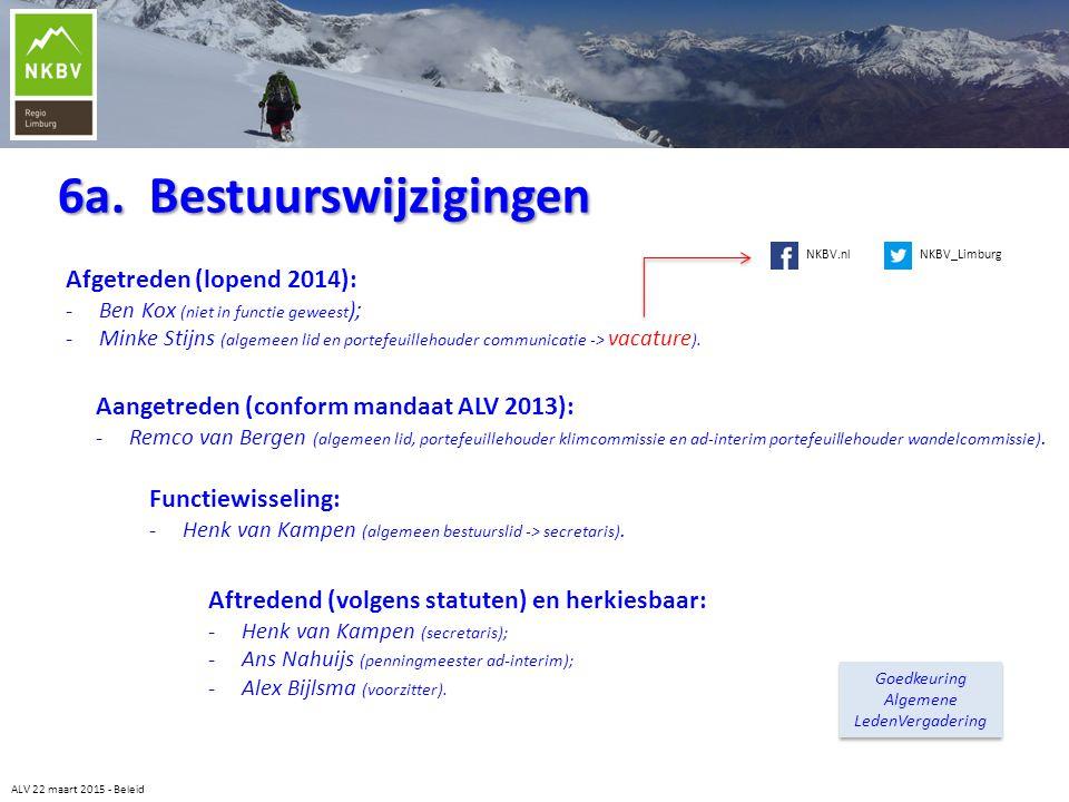 6a. Bestuurswijzigingen ALV 22 maart 2015 - Beleid Aangetreden (conform mandaat ALV 2013): -Remco van Bergen (algemeen lid, portefeuillehouder klimcom