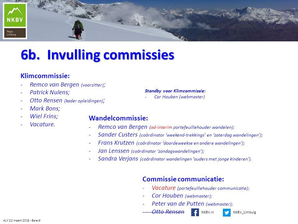 6b. Invulling commissies Klimcommissie: -Remco van Bergen (voorzitter) ; -Patrick Nulens; -Otto Rensen (kader opleidingen) ; -Mark Bons; -Wiel Frins;
