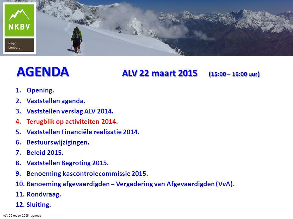 ALV 22 maart 2015 - agenda 1.Opening. 2.Vaststellen agenda. 3.Vaststellen verslag ALV 2014. 4.Terugblik op activiteiten 2014. 5.Vaststellen Financiële