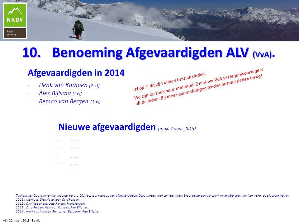 10.Benoeming Afgevaardigden ALV (VvA) 10.Benoeming Afgevaardigden ALV (VvA). Afgevaardigden in 2014 -Henk van Kampen (2 x) ; -Alex Bijlsma (2x) ; -Rem
