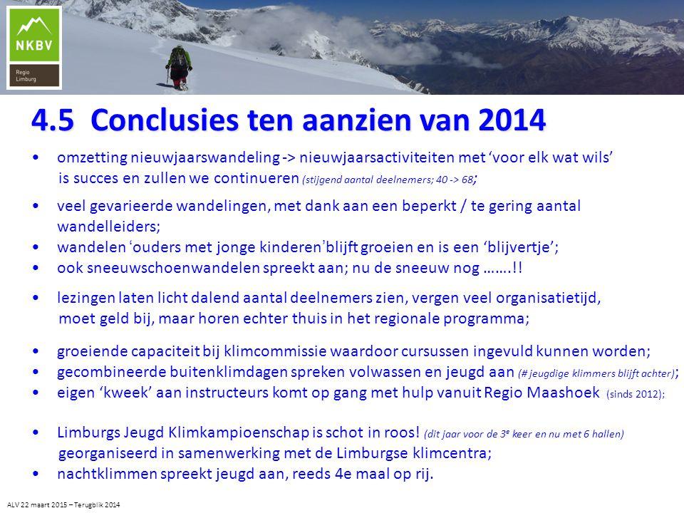 4.5 Conclusies ten aanzien van 2014 ALV 22 maart 2015 – Terugblik 2014 veel gevarieerde wandelingen, met dank aan een beperkt / te gering aantal wande