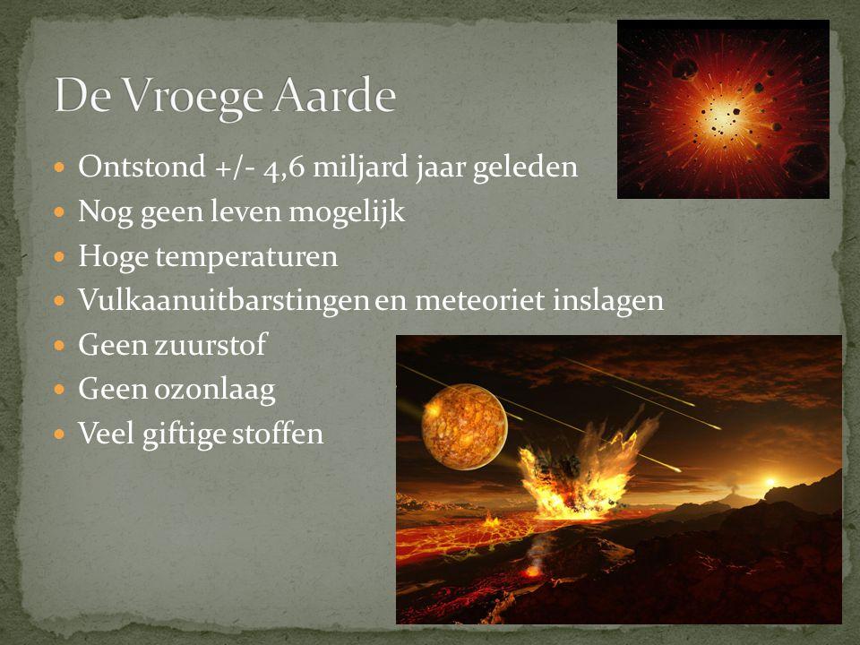 Ontstond +/- 4,6 miljard jaar geleden Nog geen leven mogelijk Hoge temperaturen Vulkaanuitbarstingen en meteoriet inslagen Geen zuurstof Geen ozonlaag