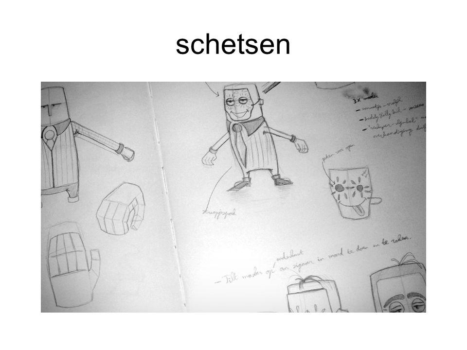 Deel 2 personalizen van de objecten Kies een van de schetsen uit als basis voor een character.