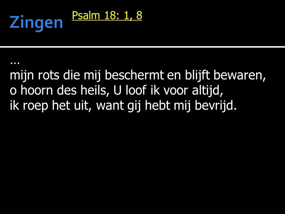 … mijn rots die mij beschermt en blijft bewaren, o hoorn des heils, U loof ik voor altijd, ik roep het uit, want gij hebt mij bevrijd.