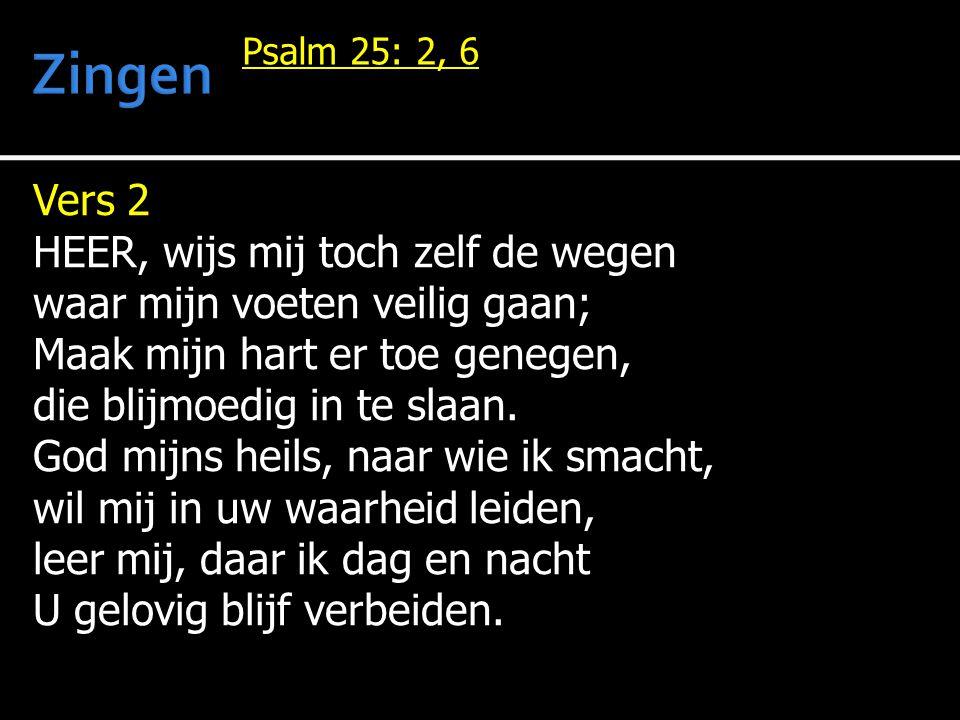 Vers 2 HEER, wijs mij toch zelf de wegen waar mijn voeten veilig gaan; Maak mijn hart er toe genegen, die blijmoedig in te slaan.