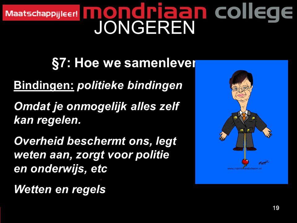 19 JONGEREN §7: Hoe we samenleven Bindingen: politieke bindingen Omdat je onmogelijk alles zelf kan regelen.