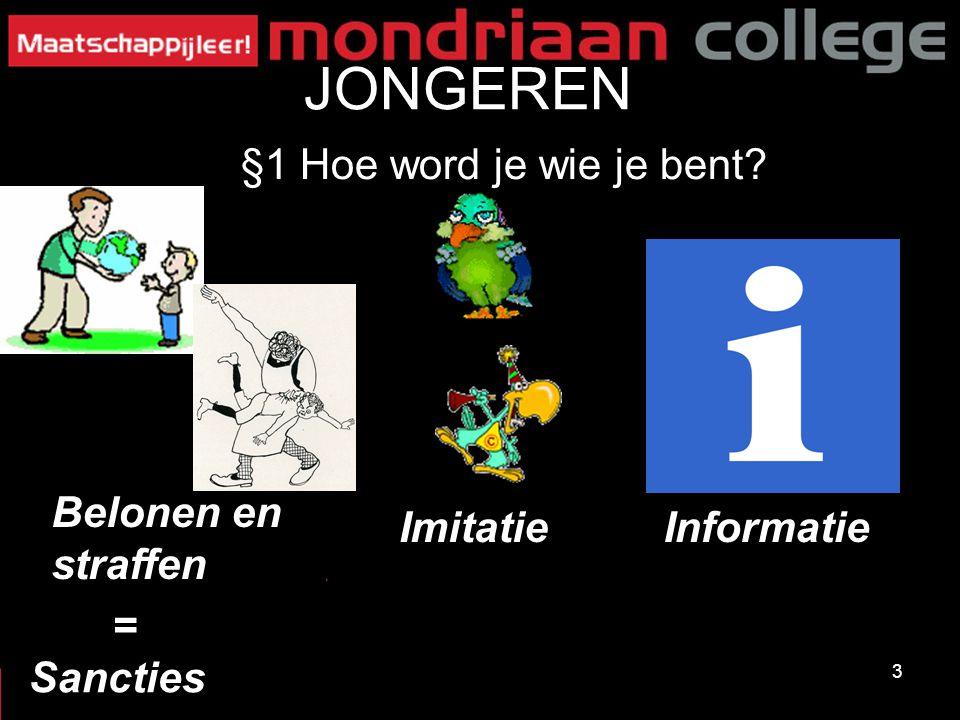3 JONGEREN §1 Hoe word je wie je bent? Belonen en straffen ImitatieInformatie = Sancties
