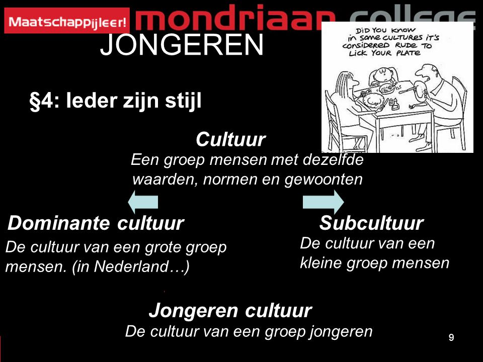 9 JONGEREN §4: Ieder zijn stijl Cultuur SubcultuurDominante cultuur Jongeren cultuur Een groep mensen met dezelfde waarden, normen en gewoonten De cultuur van een grote groep mensen.