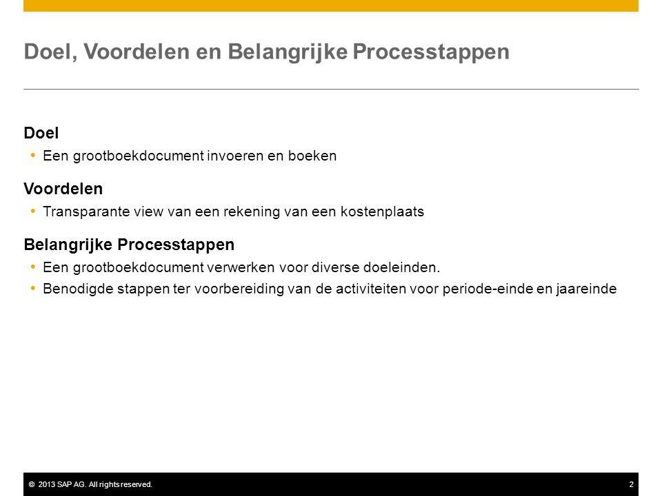 ©2013 SAP AG. All rights reserved.2 Doel, Voordelen en Belangrijke Processtappen Doel  Een grootboekdocument invoeren en boeken Voordelen  Transpara