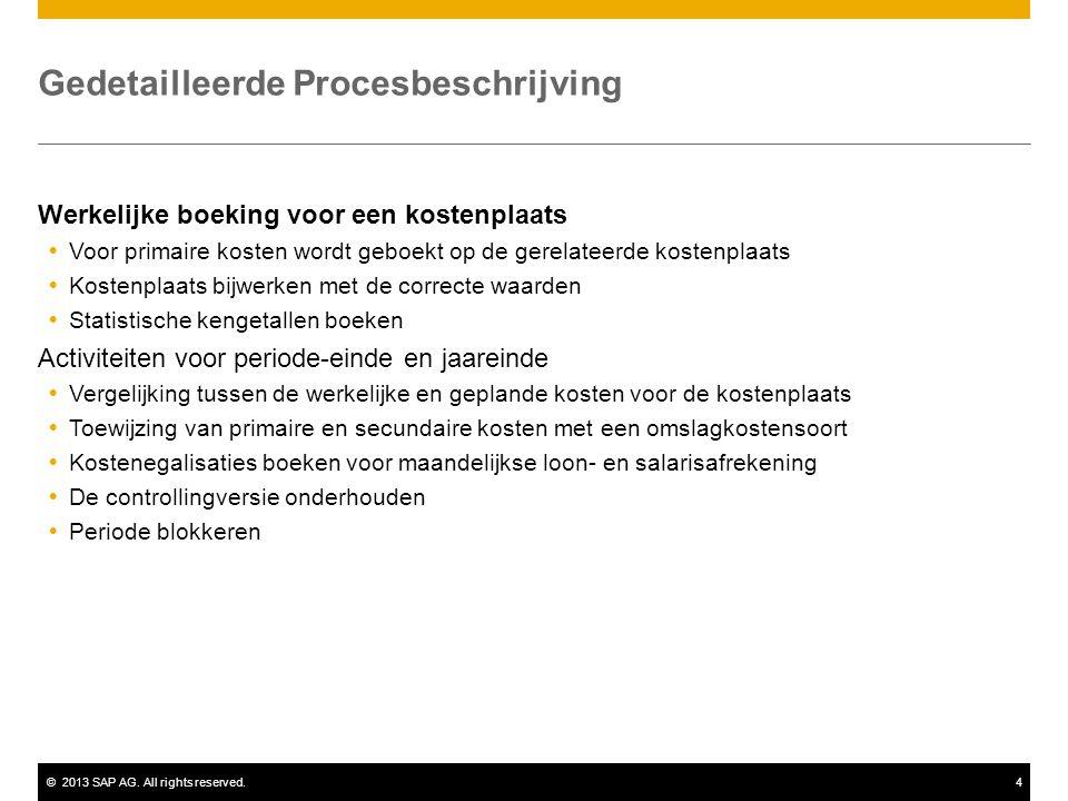 ©2013 SAP AG. All rights reserved.4 Gedetailleerde Procesbeschrijving Werkelijke boeking voor een kostenplaats  Voor primaire kosten wordt geboekt op