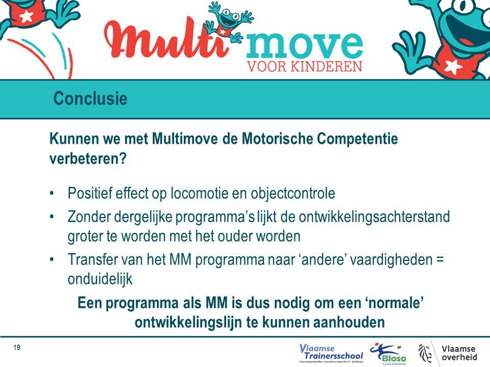 19 Kunnen we met Multimove de Motorische Competentie verbeteren? Positief effect op locomotie en objectcontrole Zonder dergelijke programma's lijkt de