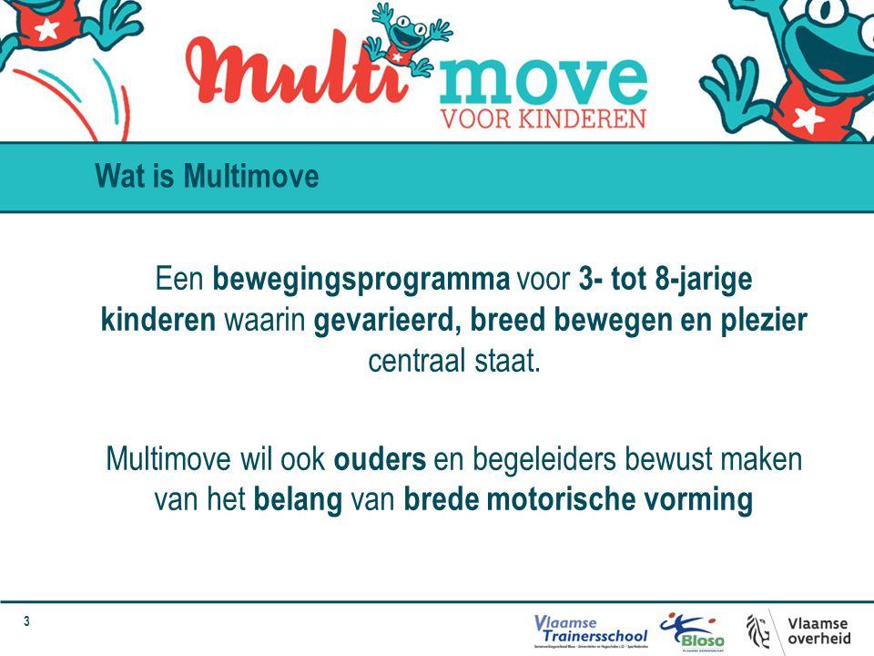 3 Een bewegingsprogramma voor 3- tot 8-jarige kinderen waarin gevarieerd, breed bewegen en plezier centraal staat. Multimove wil ook ouders en begelei