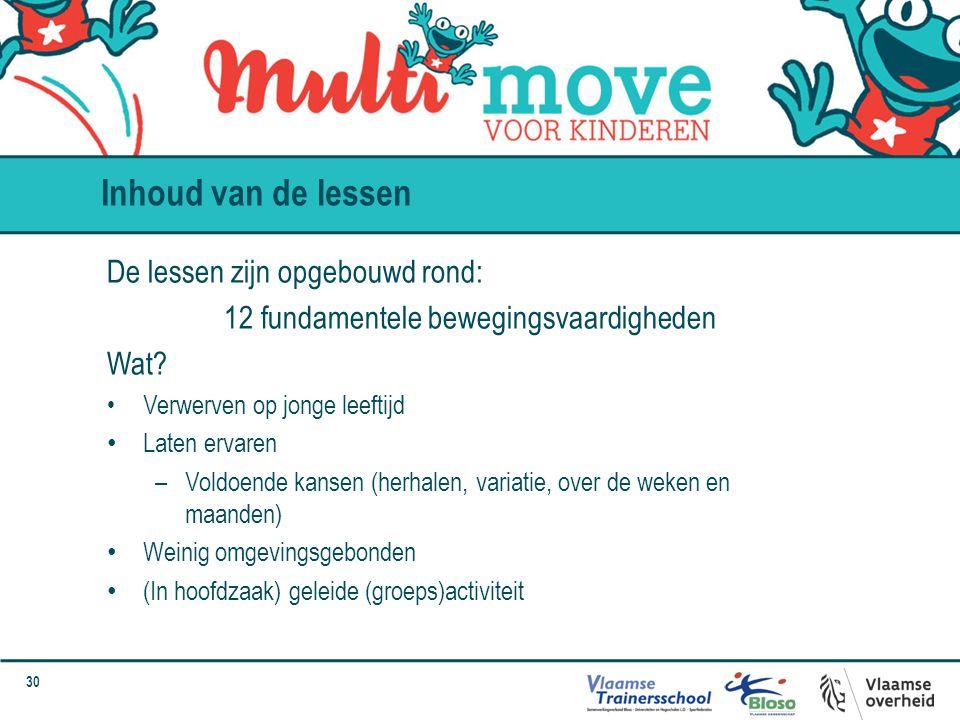 30 Inhoud van de lessen De lessen zijn opgebouwd rond: 12 fundamentele bewegingsvaardigheden Wat? Verwerven op jonge leeftijd Laten ervaren –Voldoende