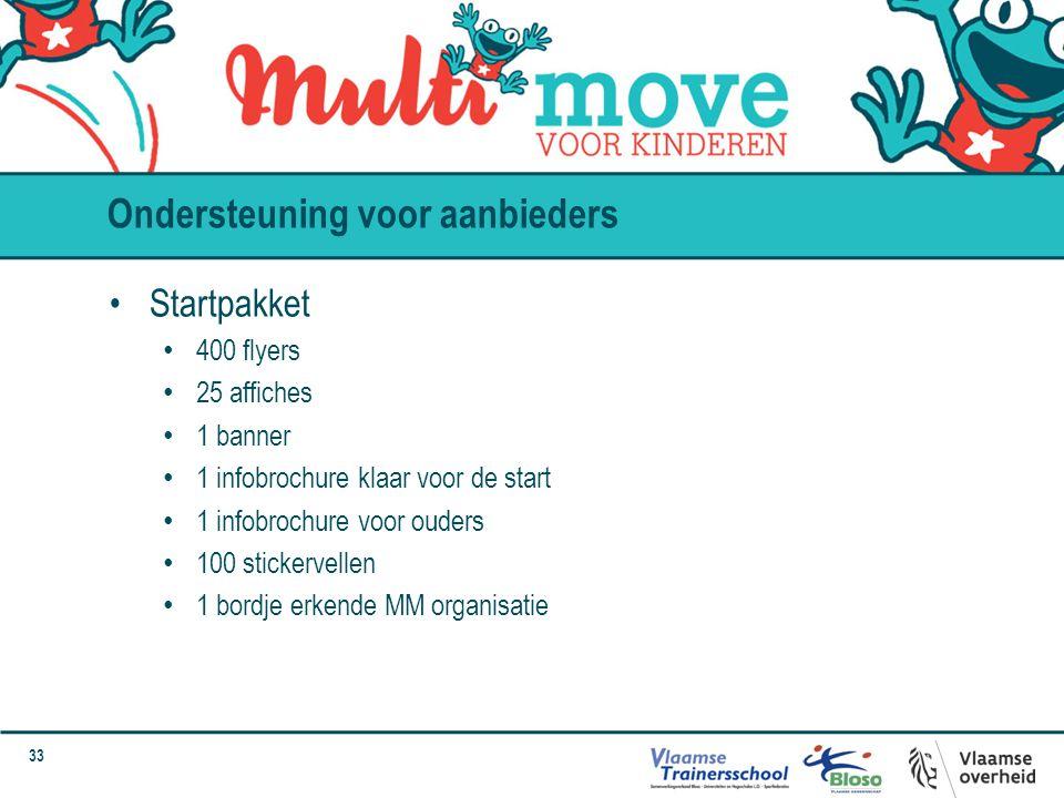 33 Ondersteuning voor aanbieders Startpakket 400 flyers 25 affiches 1 banner 1 infobrochure klaar voor de start 1 infobrochure voor ouders 100 sticker