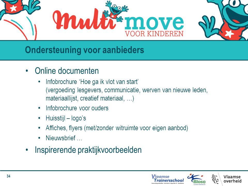 34 Ondersteuning voor aanbieders Online documenten Infobrochure 'Hoe ga ik vlot van start' (vergoeding lesgevers, communicatie, werven van nieuwe lede