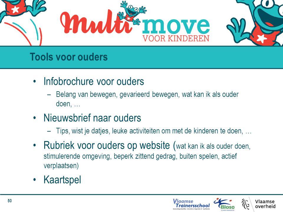 50 Infobrochure voor ouders –Belang van bewegen, gevarieerd bewegen, wat kan ik als ouder doen, … Nieuwsbrief naar ouders –Tips, wist je datjes, leuke