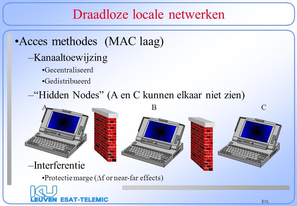 EVL Technologieën voor LAN's Huidige systemen: –1) ISM band (2,4-2,835 GHz) –Standaarden: ETS 300-328 (100 mW EIRP !) –IEEE 802.11 (oud 1 en 2 Mbit/s) (http://www.standards.ieee.org) Extensies (voorzien in 1999): 4,5 (FH) en 25,5 (DS) Mbit/s Throughput: 5,5&11 @ 2,45 GHz; 6 12 en 24 @ 5GHz –2) IR: 115 kb/s te wijten aan vermogen beperkingen –3) DECT (ETS300-175): netto 552 kb/s (250 mW) Bereik 30-100 m binnenshuis, tot 3 km buitenshuis –4) HiperLAN (ETS 300-658) versie 1 (1 W; 5,15-5,3 GHz) 23,5294 Mbit/s