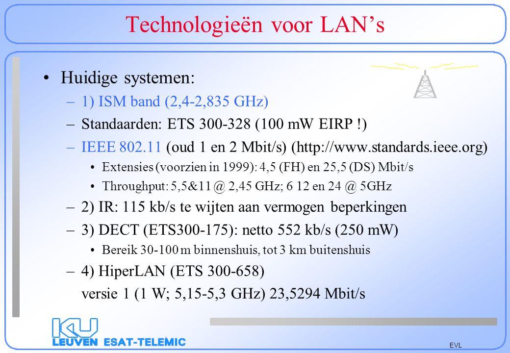EVL Draadloze locale netwerken Toekomstige systemen –1) HiperLAN 2 (17,1-17,3 GHz) –2) Bluetooth (2,402-2,480 GHz) –3) LMDS-MVDS (rond 40 GHz) In de VS: Local Multipoint Digital System In Europa: Microwave Video Distribution System –4) 60 GHz systemen ( Mobile Broadband System ) Problemen: Geen penetratie door muren: zou door vensters moeten gaan door vensters met externe belichters