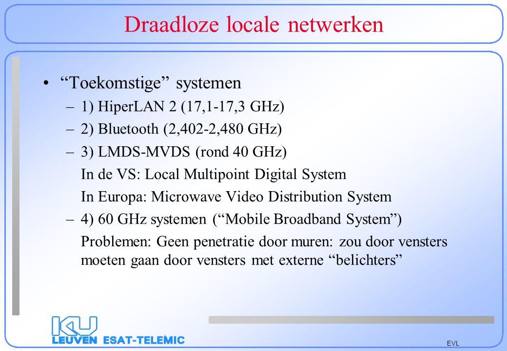 EVL Draadloze locale netwerken Besluiten –Draadloze LAN's blijven duur: –Op Apple Airport na draaien ze rond de kost van een vaste verbinding (300 €) : ongeveer 250 €/interface kaart + kost acces punt –Beveiliging is niet (altijd) verzekerd –Enkel nuttig in historische gebouwen/grote zalen –Niet alle systemen zijn compatibel (FH-DS-Proprietair)