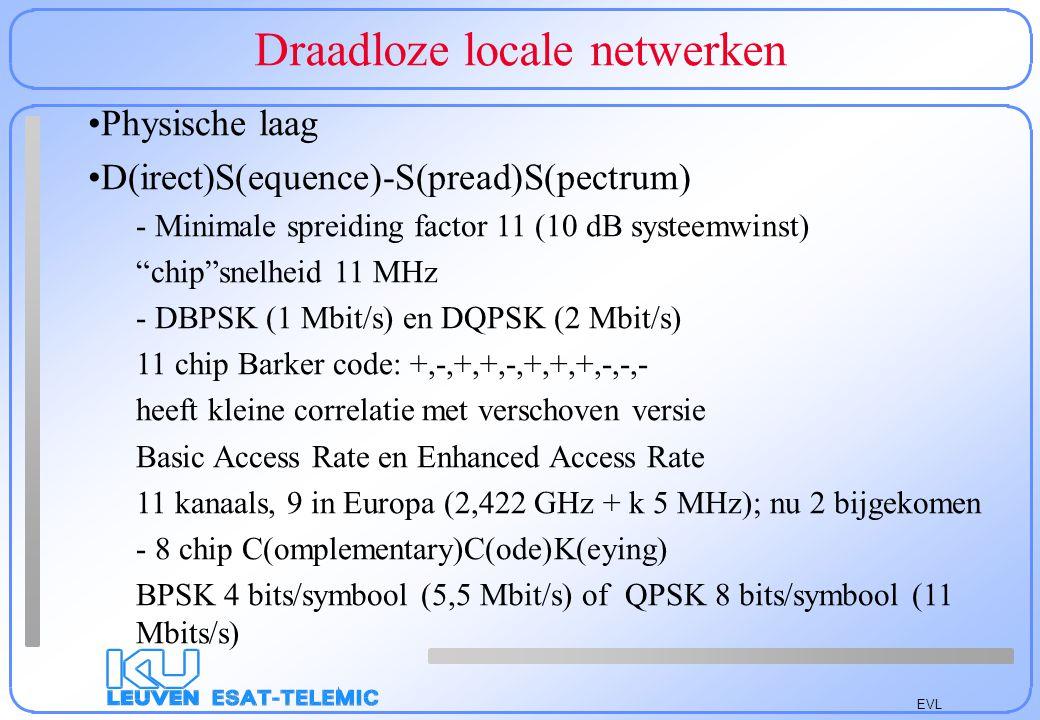 EVL Draadloze locale netwerken F(requency)H(opping)-S(pread)S(pectrum) (wordt verlaten voor bluetooth: 1000 hops/sec.; nu 802.15) –Verplicht: 1 Mbps 2 level G(aussian)F(requency)S(hift)K(eying) –Optioneel: 2 Mbps 4 level GFSK –2 GFSK: + en - 100 kHz (nu > 110 kHz) –4 GFSK: +225, +75, -75, -225 kHz –79 kanalen van 2402 MHz tot 2480 MHz (1 MHz steps) –Minimale afstand 6 MHz –78 hoppingpatronen onderverdeeld in 3 sets van 26 patronen –Minimale Snelheid: 2,5 Hops/sec.