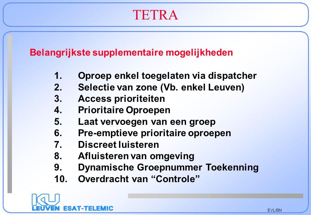 EVL/BN TETRA 1. Oproep enkel toegelaten via dispatcher 2.Selectie van zone (Vb. enkel Leuven) 3.Access prioriteiten 4.Prioritaire Oproepen 5.Laat verv